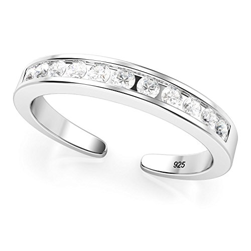 Sterling Silver Cubic Zirconia Adjustable Toe Band Ring Adjustable Sterling Toe Rings