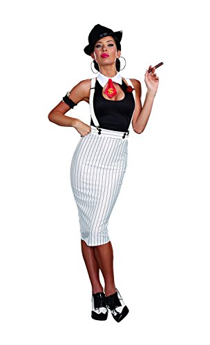 Bonnie Costume Clyde (Dreamgirl Women's Dirty Work White Pinstripe Gangster Pin-Up Costume, White/Black,)
