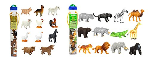 Farm Toob (Set of 12 Safari Ltd Farm TOOB bundled with Set of 12 Safari Ltd Wild TOOB)