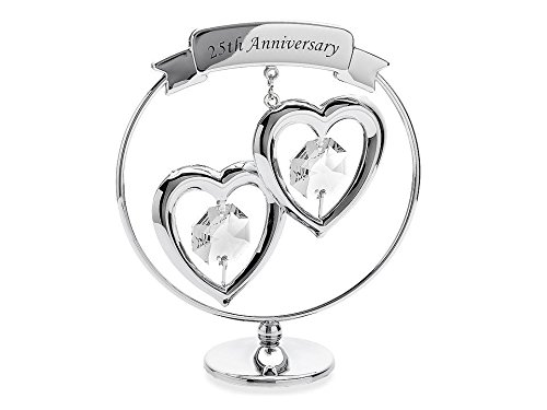 Widdop Bingham Crystocraft Two Hearts 25th Silver Anniversary