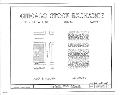 Chicago Bank Lasalle (historic pictoric Blueprint Diagram HABS ILL,16-CHIG,36- (sheet 1 of 4) - Chicago Stock Exchange Building, 30 North LaSalle Street, Chicago, Cook County, IL 14in x 11in)