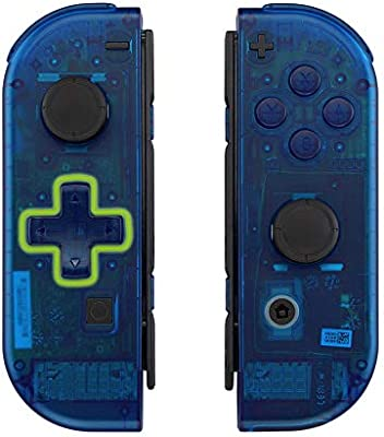 eXtremeRate Carcasa Transparente Azul(D-Pad Versión) para Joy-con ...