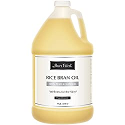 Bon Vital' Rice Bran Oil, 100% Pure and Cold Pressed Carrier Oils for Diffusers, Professional Massage Oil, Best Beauty Secret for Soft & Smooth Skin, Moisturizer & Sore Muscle Relief, 1 Gallon Bottle