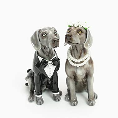 Weimaraner Dog Wedding Cake Topper P00052 Clay Sculpted Hand Painted Wedding Dog Figurine Table Reception Decoration