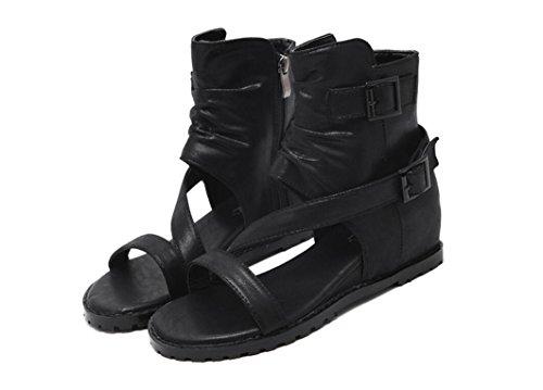 SHFANG Lady Boots Estilo Romano Verano Dew Toe Gao Gang Poe Velcro Flat Fondo estudiantes Dos colores de 4 cm Black