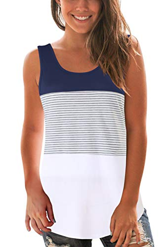 SMALOVY Women Striped Tank Tops Casual Sleeveless Color Block T Shirts Navy 2XL