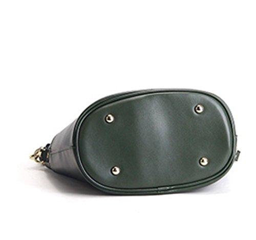 véritable vintage Sac bandoulière à capacité vert main foncé grande cuir femme pour 8Tw1qw6