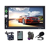 LSLYA Bluetooth Car Stereo 7 inch HD Touch Capacitive Screen 2 Din in-Dash MP5 MP3 Player Audio Video Amplifier with Hands-Free/FM AM RDS Radio/USB/SD/AUX/Steering Wheel Controls Remote Con