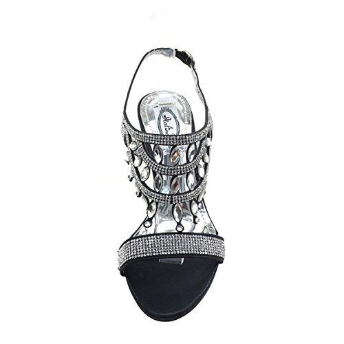 Womens Rhinestone Brieten Sandals Cut Dress New Kitten Slingback Black Heel out 5PAqd