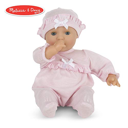 (Melissa & Doug Mine to Love Jenna 12-Inch Soft Body Baby Doll, Romper and Hat Included, Wipe-Clean Arms & Legs, 12.5