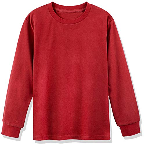 (COSLAND Youth Boys' 100% Cotton Solid Color T-Shirts (Red, Small))