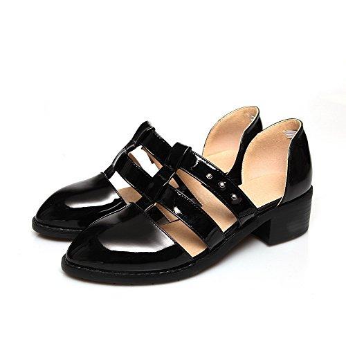 Amoonyfashion Femmes En Cuir Verni Pointu Bout Fermé Talons Bas Pompes Chaussures Noir-patentleather