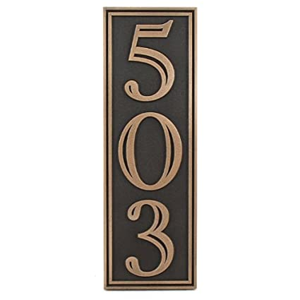 797a65feea064 Amazon.com : Hesperis Vertical Address Plaque 3 Number 5x15 - Raised ...