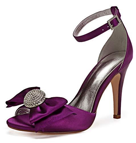 Caviglia Satin A Alla 430 Open Scarpe Cinturino Strass Da Fiocco Spillo Alti Donna Tacchi 6 Toe Sposa Seraph Sandali Purple ZxXvI4I