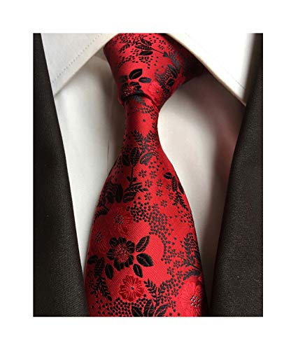- Men's Red Black Jacquard Woven Silk Ties Formal Wedding Necktie Standard Length