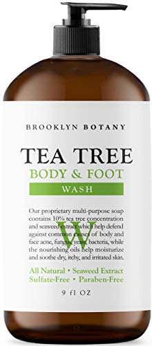 Antifungal Tea Tree Oil Body Wash - Extra Strength, Helps Athletes Foot, Ringworm, Toenail Fungus, Jock Itch, Acne, Eczema & Body Odor- Soothes Itching & Promotes Healthy Feet, Cuticles and Nails 9 oz