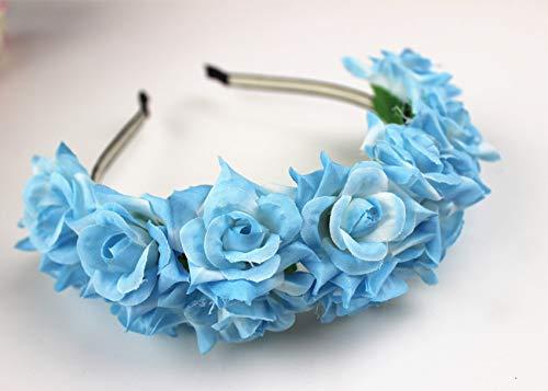 Handmade Big Fabric Rose Flower Headband Hair Garland Wedding Headpiece Floral Crown 12 Colors Blue