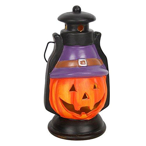 Evelyne GMT-10308 Halloween Decorative Ceramic Jack-O'-Lantern Pumpkin LED Light Hand Lantern