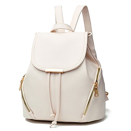 aiseyi Casual Fashion School Leather Backpack Shoulder Bag Mini Backpack for Women Girls Purse (White)