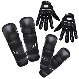 Kurtzy Knee Elbow Guard Gear for Adults Bike Motocross Racing Motorcycle Sports with Hand Gloves