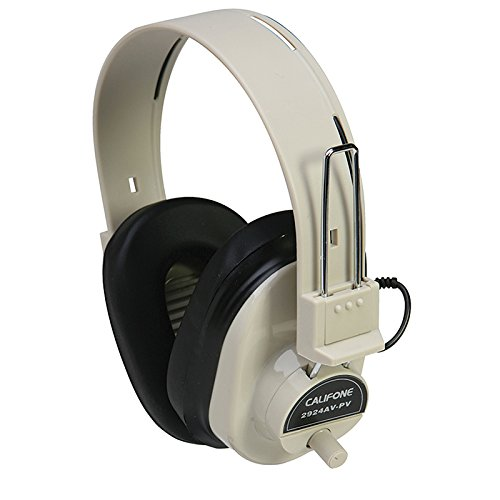 Califone CAF2924AVPV Deluxe Mono Headphone with Volume Control, Fixed Coiled Cord ()