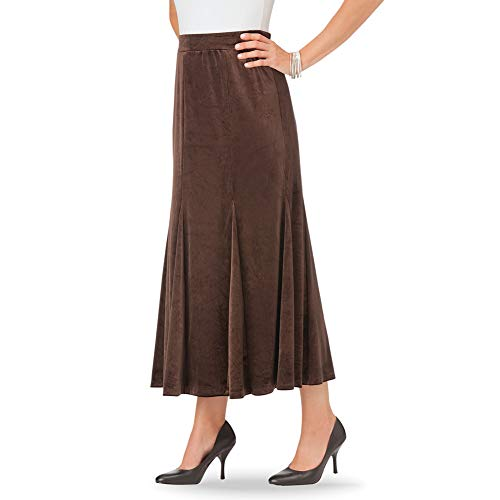 Women's Velvet Godet Elastic Waist Skirt - Long Ankle Length, Elastic Waist Elegant Skirt, Chocolate, Large - Made in The USA