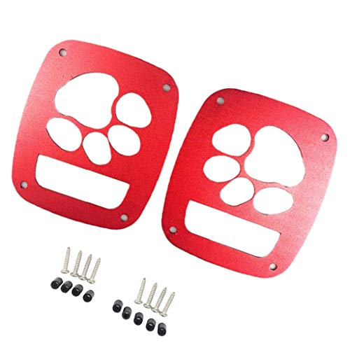 (B Blesiya A Pair Red Taillights Covers Rear Light Cover Dog Paw for Jeep Wrangler Accessories)