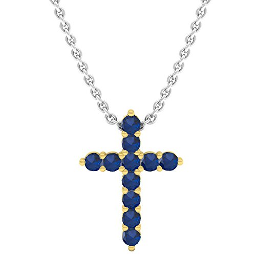 Dazzlingrock Collection 14K Round Blue Sapphire Ladies Cross Pendant (Silver Chain Included), Yellow Gold