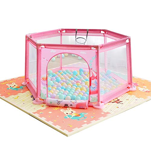 Children's Safety Anti-Fall Fence Baby Game Playpens Playground Fence Indoor Household Baby Toddler Toy House, Pink, Height 65cm (Color : Playpen+Stitching mat+100 Balls) (100 Games Playground)