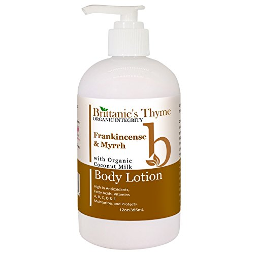 Organic Hand & Body Lotion with Coconut Milk - Natural Moisturizer, All Skin Types, Organic, Vegan, Certified Gluten Free, SLS & Paraben Free, NO Artificial Fragrances, 12 oz (Frankincense & Myrrh)