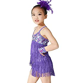 - 41PxiN6WomL - MiDee Latin Dress Dance Costume 3 Colors Camisole Sequins Tassels Skirt for Girls