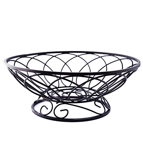 (Metal Fruit Bread Storage Basket Display Stand Perfect for Fruit, Vegetables, Snacks,Home Kitchen and Office Antique Black (Medium))