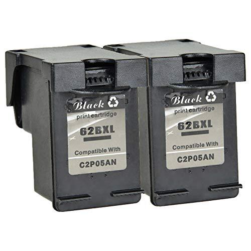(Nineleaf 2 Pack Remanufactured 62XL 62 XL Black High Yield Ink Cartridge C2P05AN for HP Envy 5640 5642 5643 5644 5646 5660 7640 7645 OfficeJet 5740 5741 5742 5743 5745 8040 804 200 250 Printer)