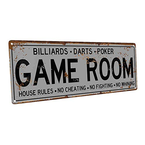 Game Room House Rules Metal Street Sign, Billiards, Poker, Darts, Gaming, Mancave, Den, Wall Décor (Billiards Room Decor)