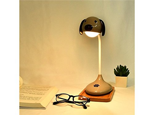 Yunqir Compatible Cute Dog Touch Table Lamp USB Charging LED Reading Light (Gray)