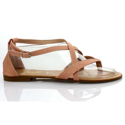 Anna Adele-2 Kvinner Gladiator Ankel Strap Slingback Krysser Flat Thong Sandal, Farge: Blush
