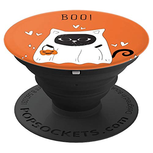 Halloween cat dressed up - kitty ghost - PopSockets Grip and Stand for Phones and Tablets -