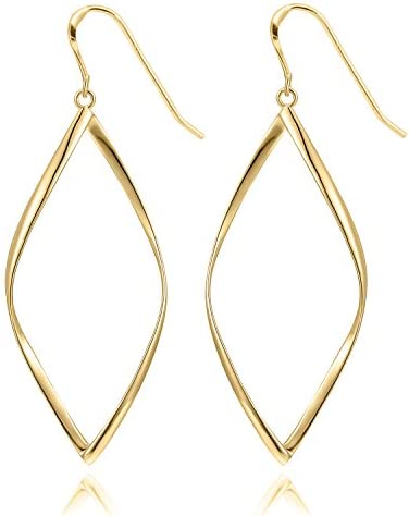 14K Gold Plated Infinity Sterling Silver Post Hoop Earrings for Women