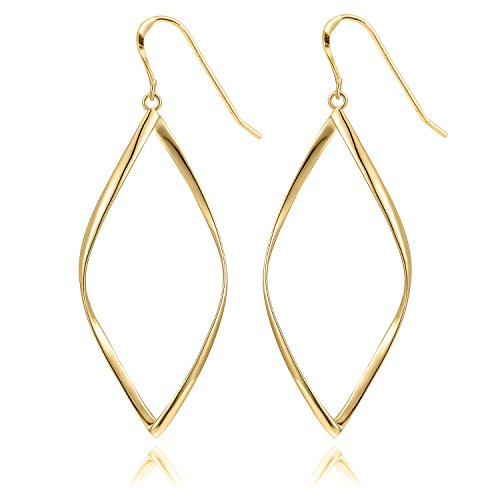 Gold Womens Earring (14K Yellow Gold Plated Infinity Sterling Silver Post Hoop Earrings for Women)