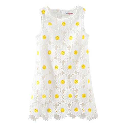 LittleSpring Flower Girl Dress Sleeveless Daisy Lace Dress (White,12-18 Months)