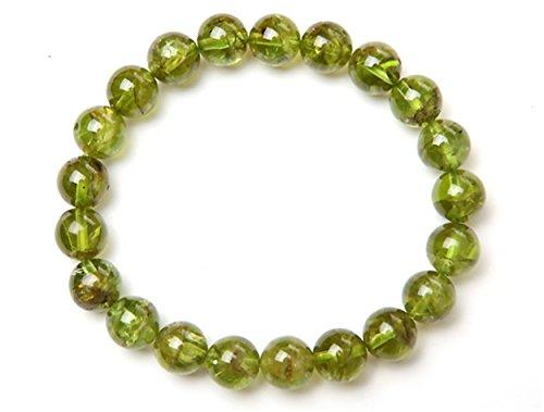 LiZiFang Genuine Natural Olivine Peridot Gemstone Stretch Round Crystal Bead Bracelet (Genuine Peridot Crystals)