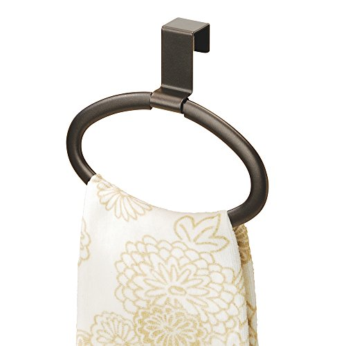 Bar Loop (mDesign Modern Kitchen Over Cabinet Strong Steel Round Towel Holder - Hang on Inside or Outside of Doors, Storage and Organization Oval Ring for Hand, Dish, and Tea Towels - 6.5
