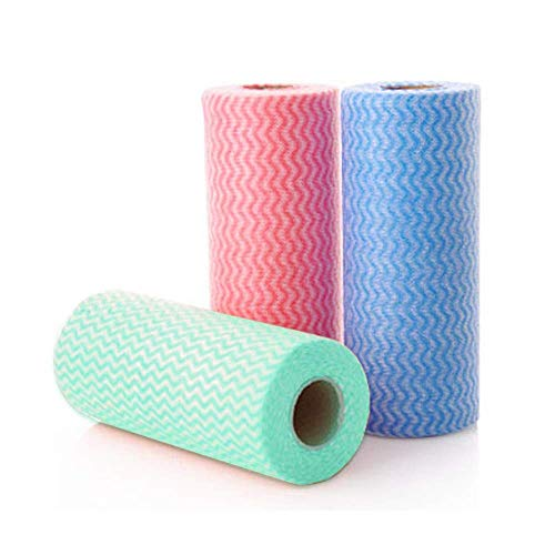 Reusable Cleaning Cloth, 3 Rolls 150 Sheets Non-Woven Fabric Nonstick Cloth Reusable Kitchen Paper Cleaning Wipe for Household Cleaning, 3 Color 50 Sheets/Roll