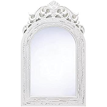 Decorative wall mirrors arched top wood - White wood framed bathroom mirrors ...
