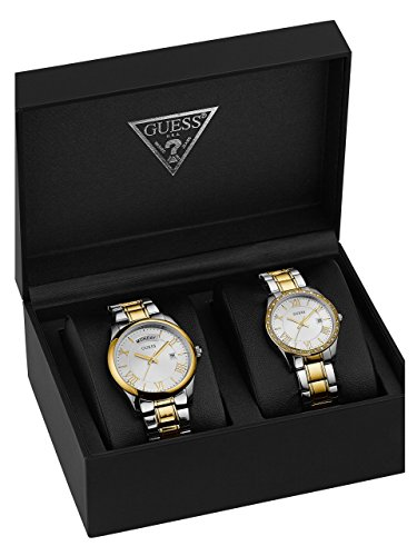 GUESS-Mens-U0925P1-Boxed-Set-Silver-Tone-Gold-Tone-Watches-with-Silver-Dial-and-Stainless-Steel-Band