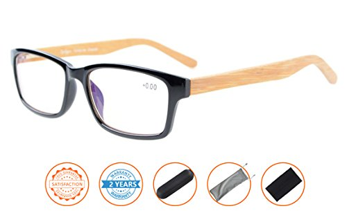 Reduce Eyestrain,Anti Blue Rays,Spring Hinge Bamboo Temples Computer Reading Glasses(Black,Amber Tinted Lenses) - In Glasses Computer