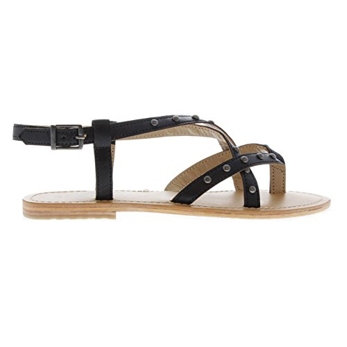 Leather Flat Womens Sandals Blackseal Noir Firetrap Dalhia nxwYqRxSz