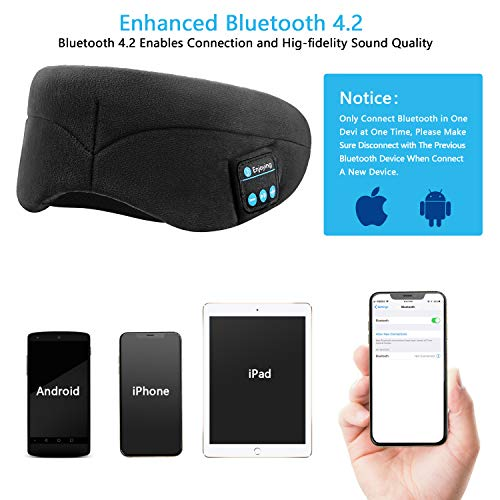 Bluetooth Sleeping Eye Mask with Wireless Headphones,ERNSTING Wireless Bluetooth Music Headset with Adjustable Built-in Speaker and Microphone Calls Washable Perfect for Travel and Sleep (Black) by ERNSTING (Image #2)