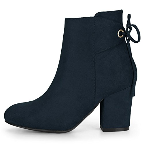 Ankle Block Women's Lace Zipper Heel K Round Navy Blue Up Allegra Toe Boots IpCzwqq
