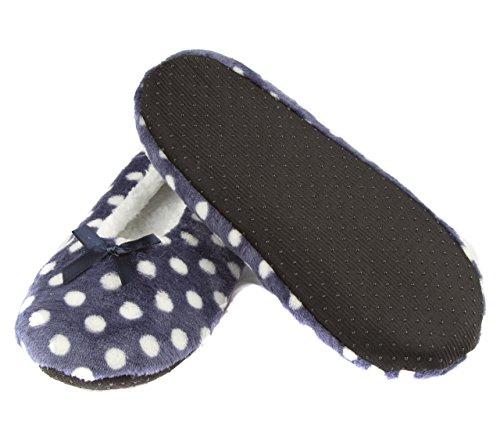 Leisureland Womens Cozy Slippers Polka Dots Design Blue cD3yF